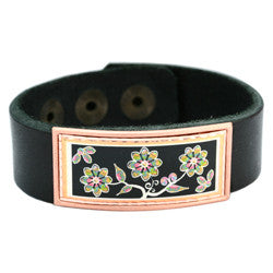 Floral Design Colourful Leather Bracelet