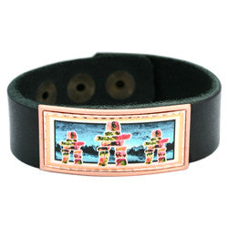 Native Inukshuk Colourful Leather Bracelet