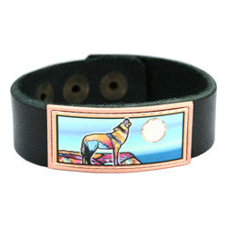 Wolf Colourful Leather Bracelet