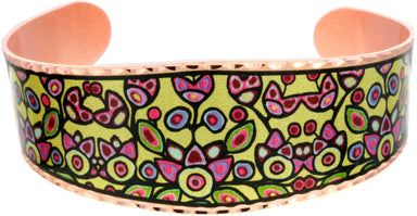 Norval Morrisseau Floral on Yellow Artist Collection Copper Bracelet - Oscardo