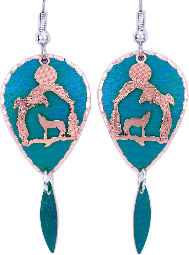 Wolf Blue Patina Earrings