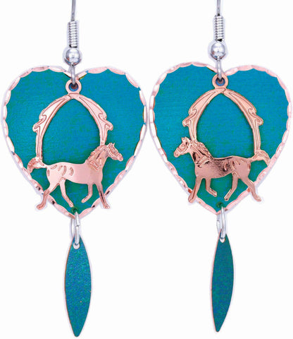 Horse Blue Patina Earrings