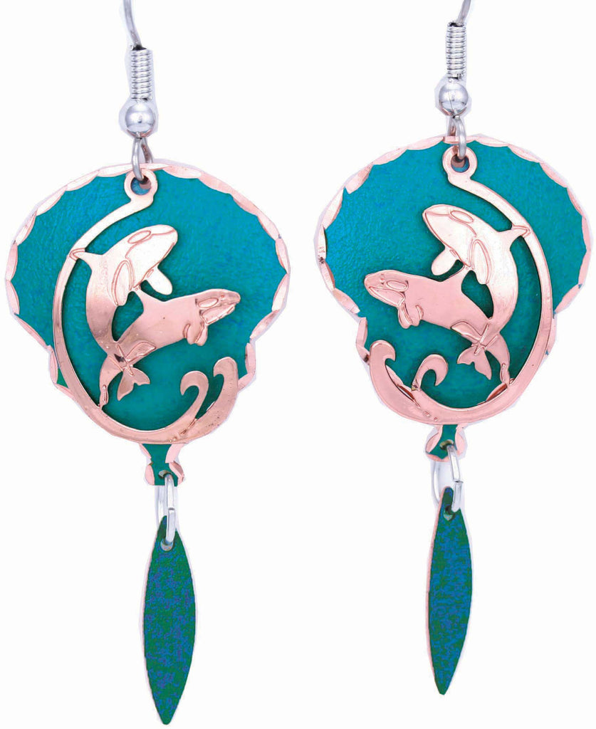 Dolphin Blue Patina Earrings
