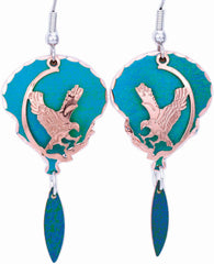 Eagle Blue Patina Earrings