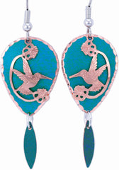 Hummingbird Blue Patina Earrings