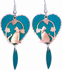 Cat Blue Patina Earrings