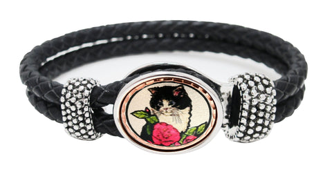 Cat Braided Leather Bracelet