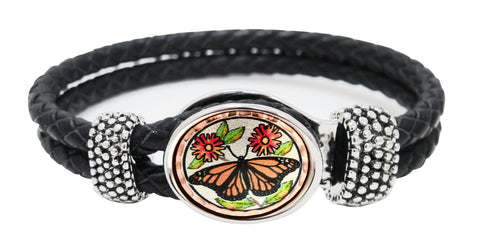 Butterfly Braided Leather Bracelet