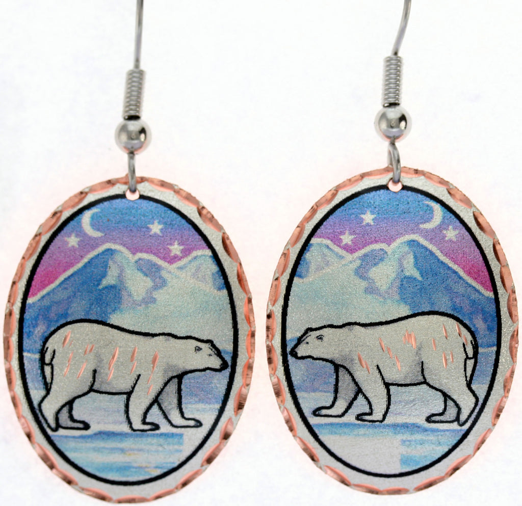 Polar Bear Colourful Copper Earrings