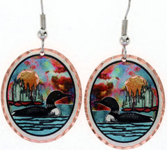 Loon Colourful Copper Earrings