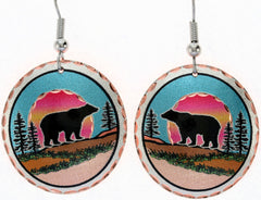Bear Colourful Copper Earrings