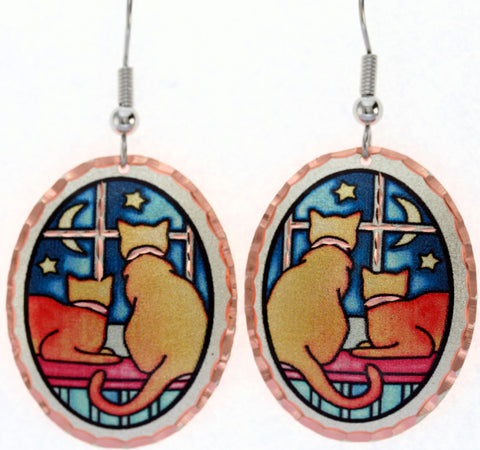 Cat Colourful Copper Earrings