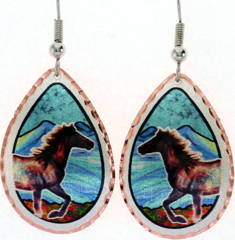 Horse Colourful Copper Earrings