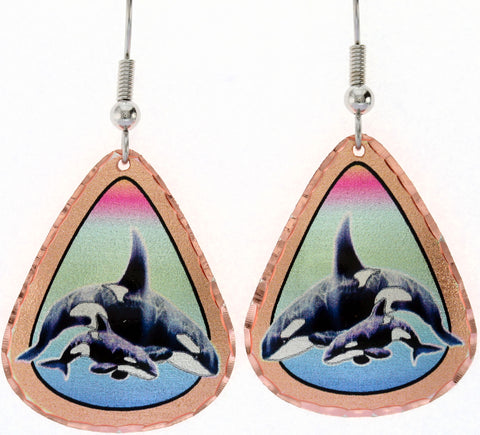 Dolphin Colourful Copper Earrings