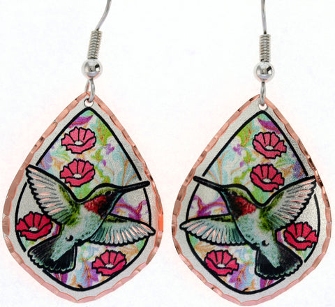 Hummingbird Colourful Copper Earrings