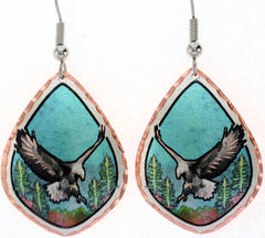 Eagle Colourful Copper Earrings