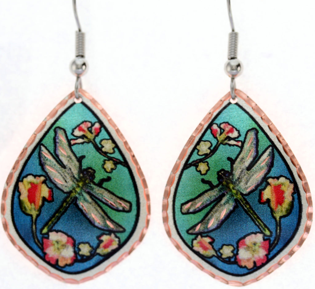 Dragonfly Colourful Copper Earrings