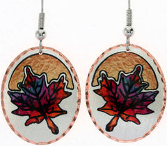 Maple Leaf Colourful Copper Earrings