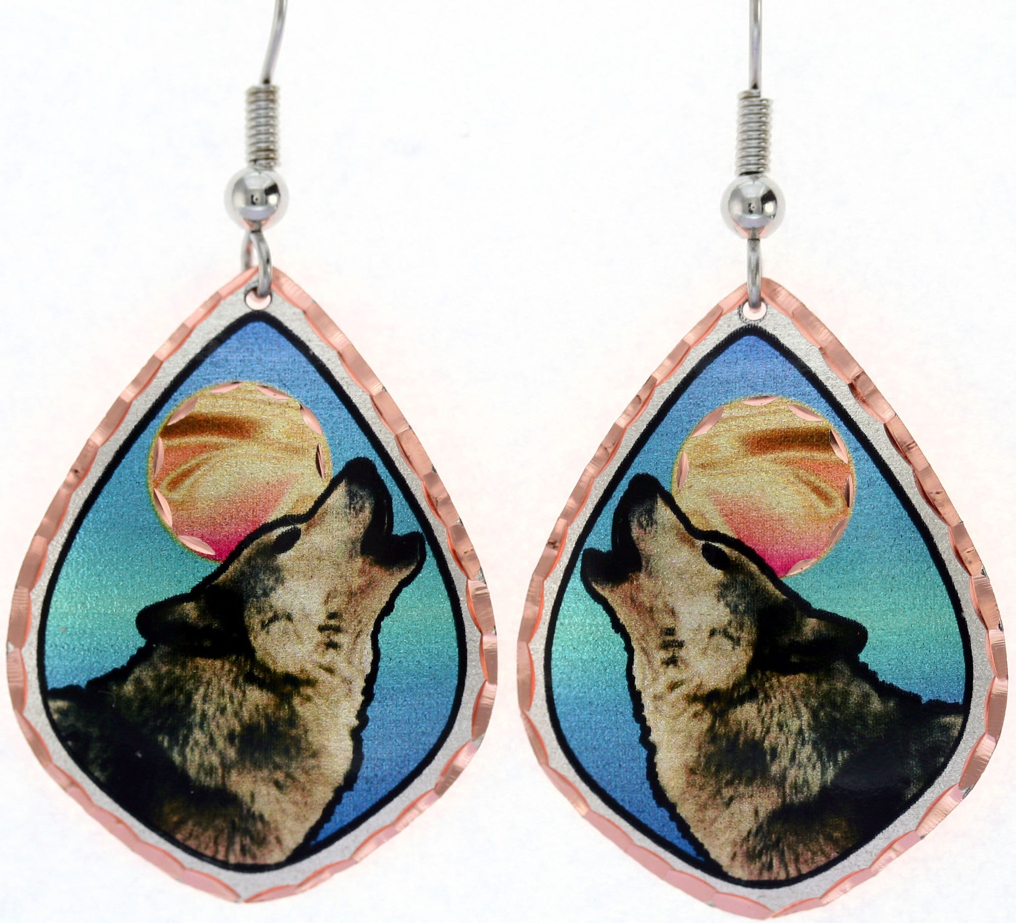 Wolf Colourful Copper Earrings