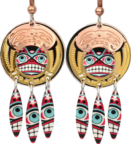 Native Bear Colourful Cut-out Earrings