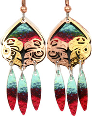 Native Eagle Colourful Cut-out Earrings