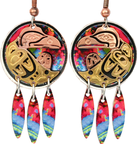 Native Raven Colourful Cut-out Earrings