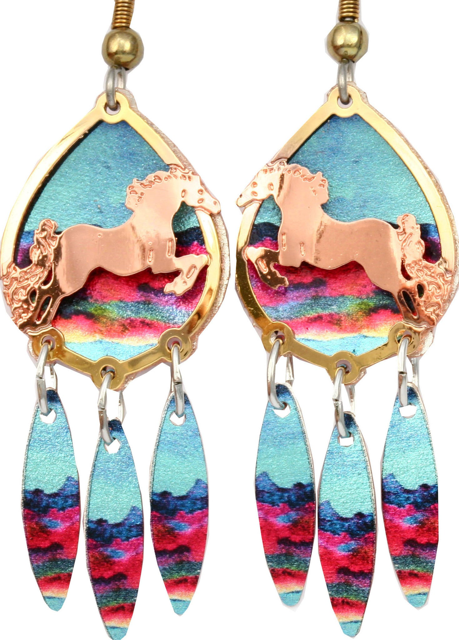 Horse Colourful Cut-out Earrings