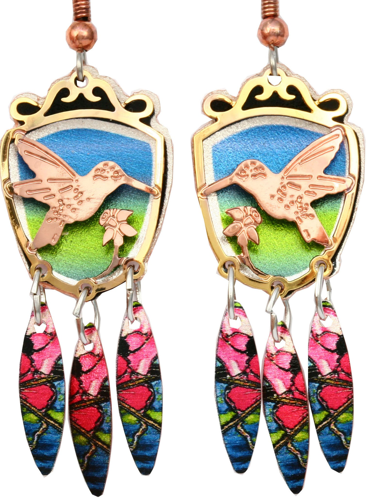 Hummingbird Colourful Cut-out Earrings -Temporarily Out of Stock