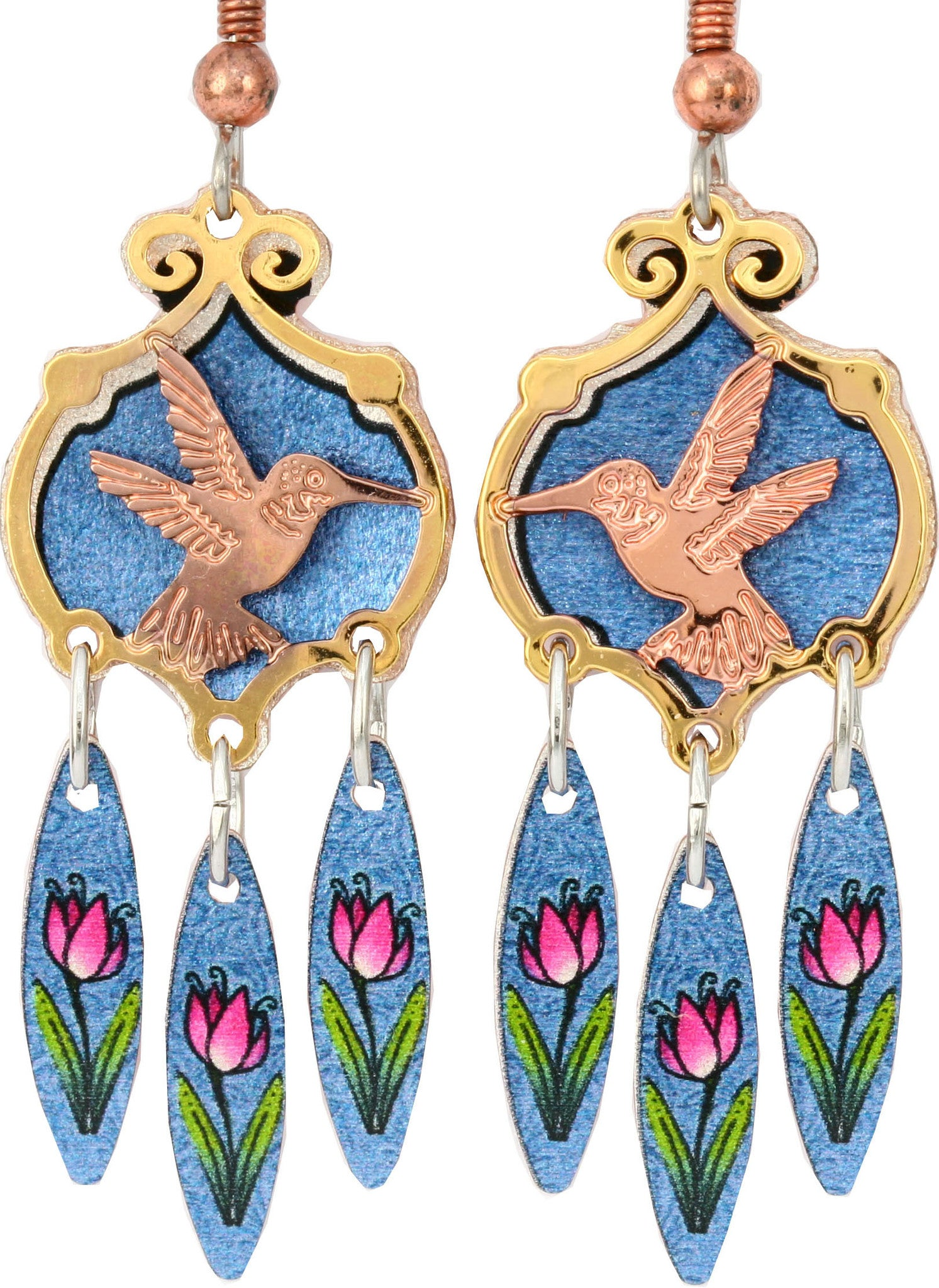 Hummingbird Colourful Cut-out Earrings