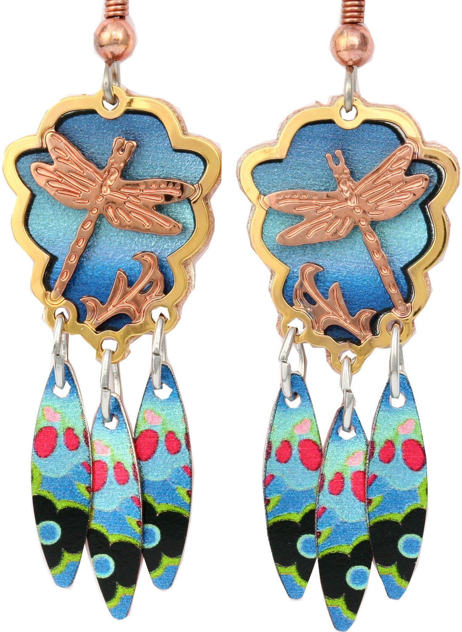 Dragonfly Colourful Cut-out Earrings
