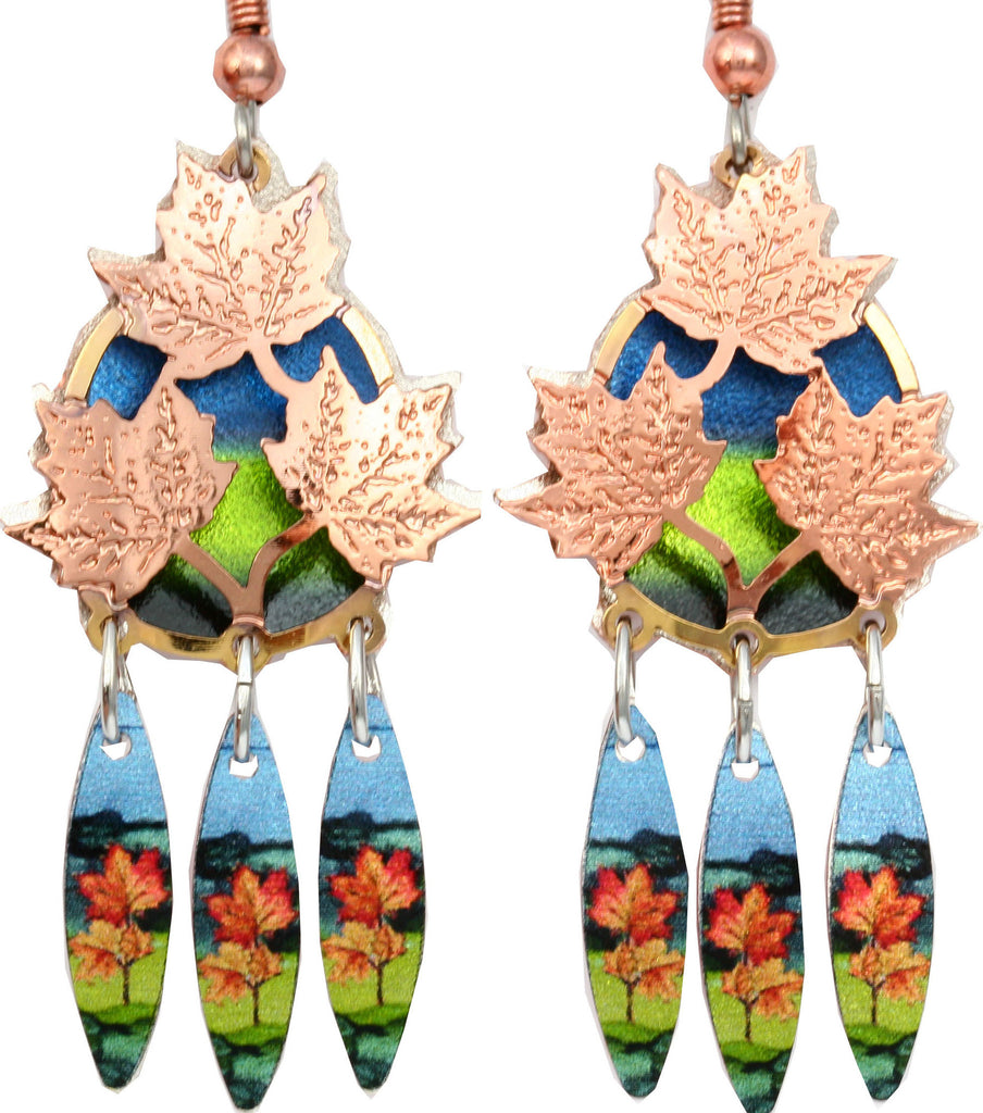 Maple Leaf Colourful Cut-out Earrings