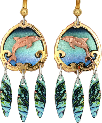 Dolphin Colourful Cut-out Earrings