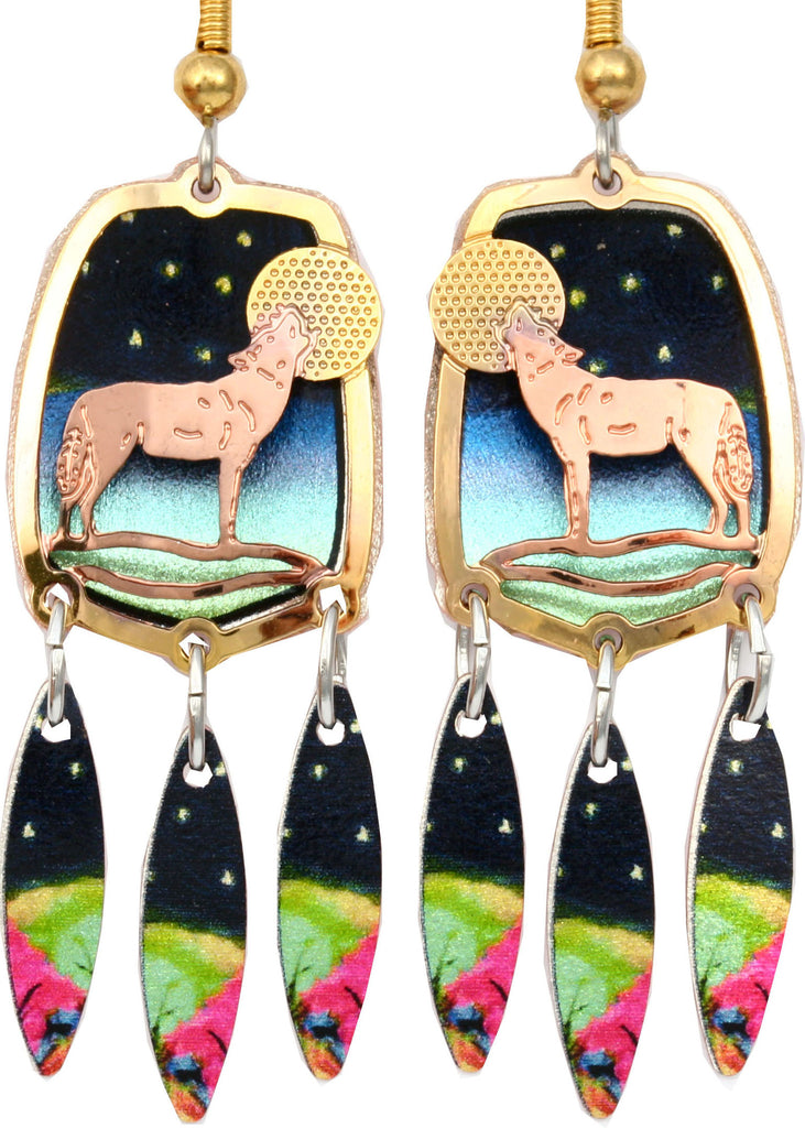 Wolf Colourful Cut-out Earrings