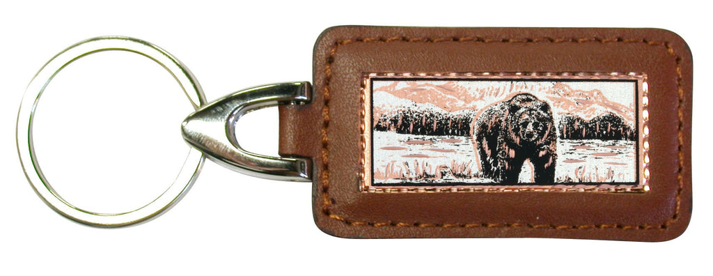 Bear Rectangular Leather Key chain