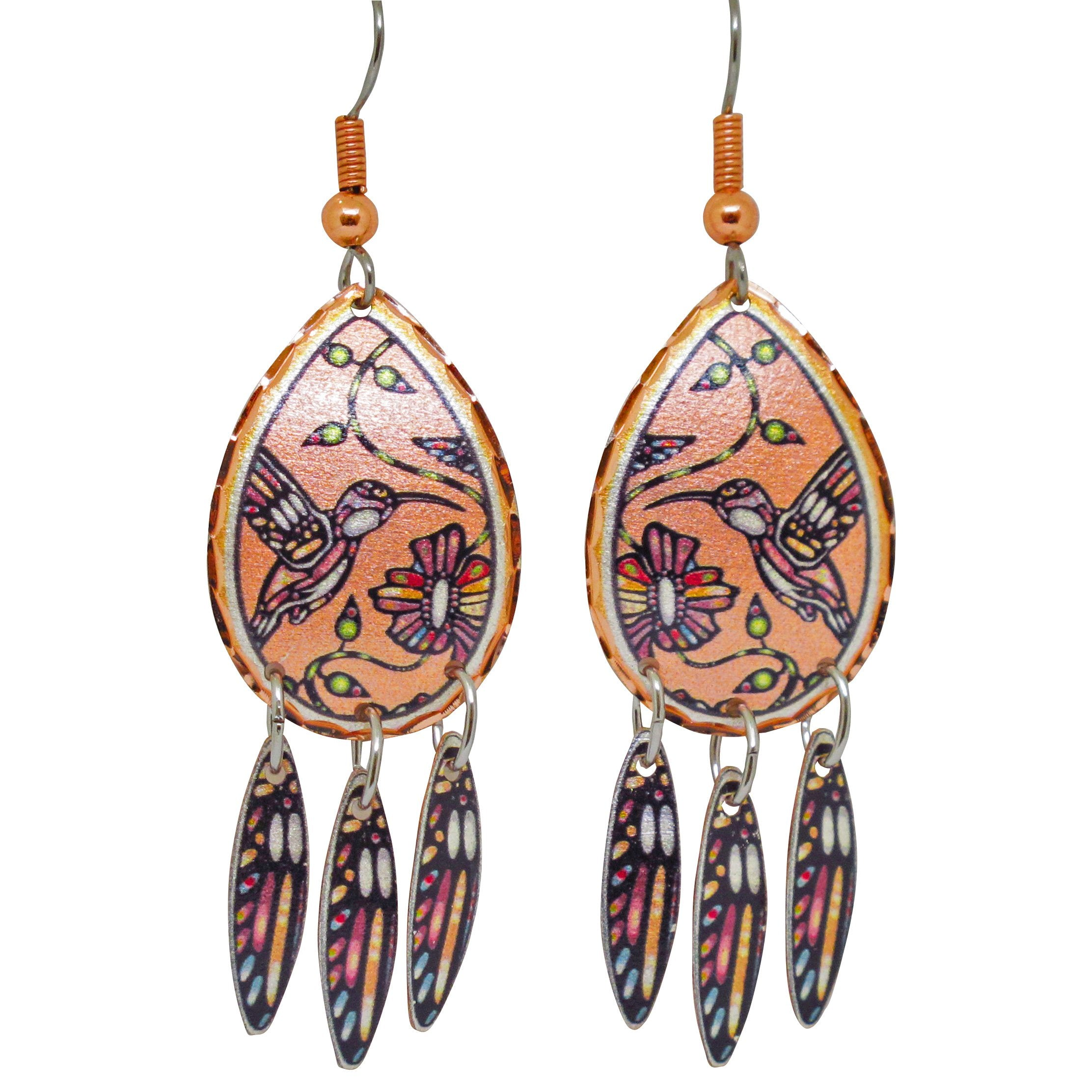 John Rombough Hummingbird  Artist Collection Copper Earrings