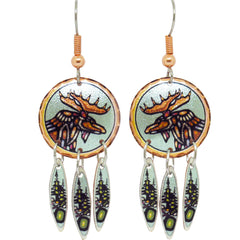 John Rombough Moose Artist Collection Copper Earrings