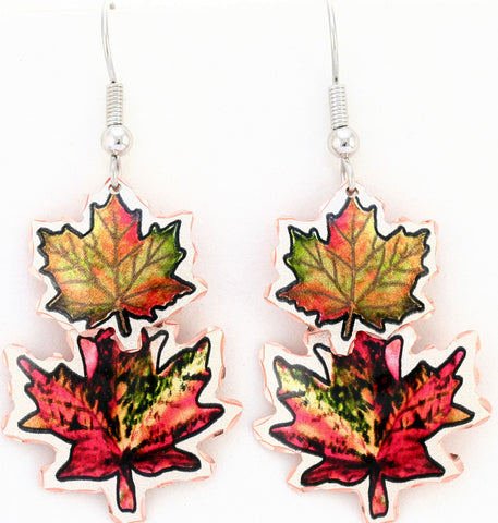 Maple Leaf Colourful Multiple Earrings