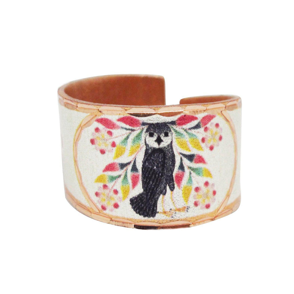Kenojuak Ashevak Owl's Bouquet  Artist Collection Copper Ring