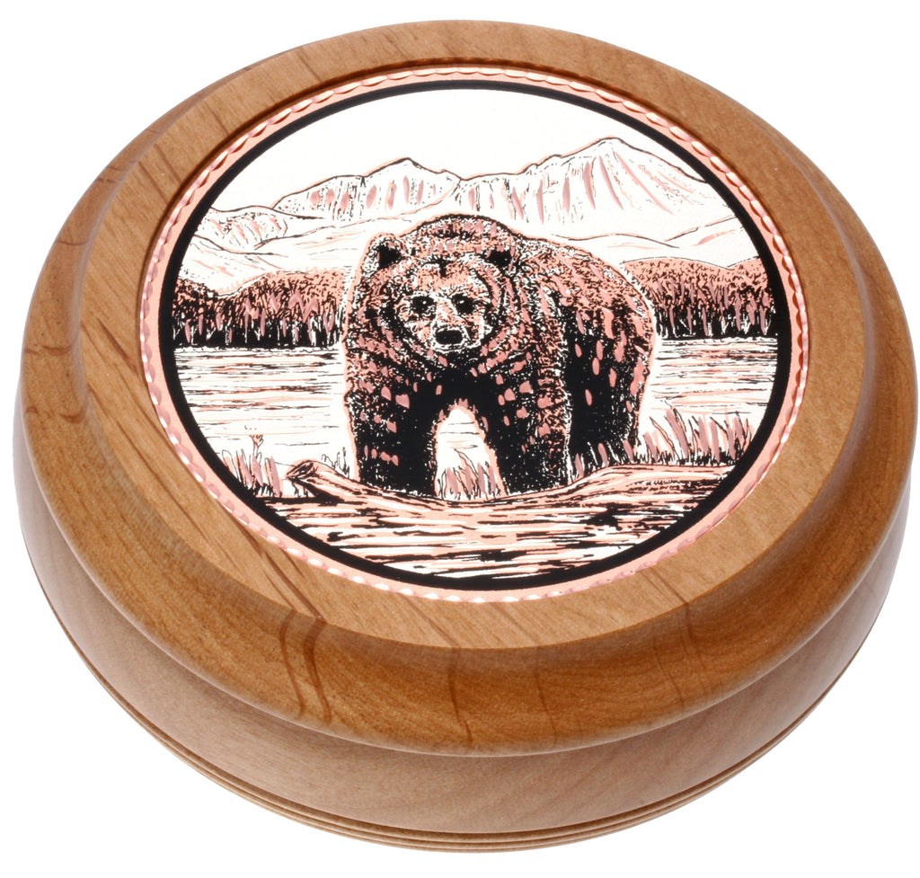 Bear Round Wood Box