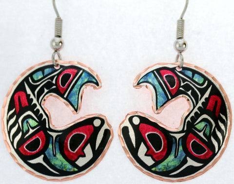 Native Salmon Colourful NW Native Earrings