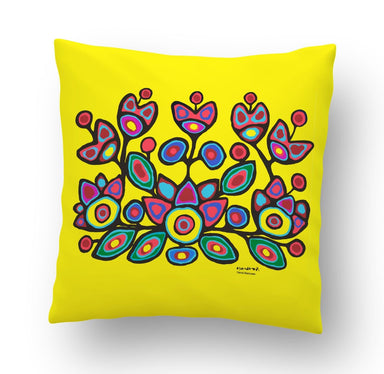 Norval Morrisseau Floral on Yellow Cushion Cover - Oscardo
