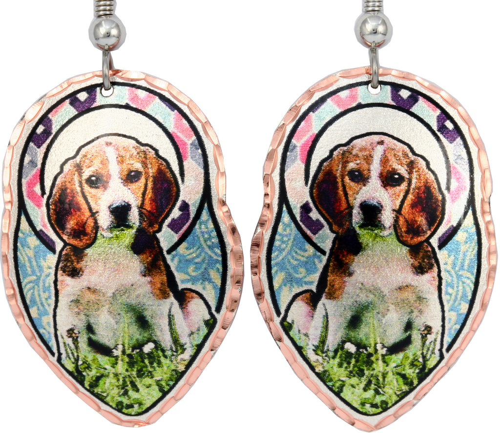 Beagle Dog Colourful Copper Earrings