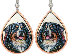 Bernese Mountain Dog Colourful Copper Earrings