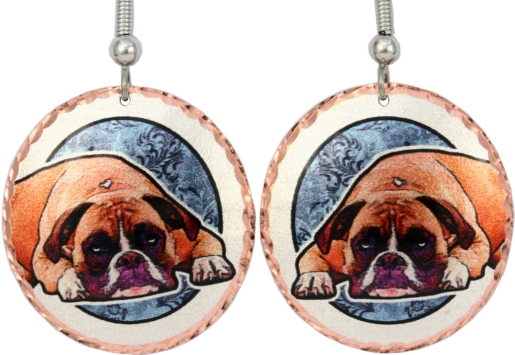 Boxer Dog Colourful Copper Earrings