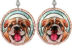 Bull Dog Dog Colourful Copper Earrings