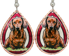 Dachshund Dog Colourful Copper Earrings