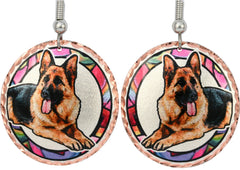 German Shepherd Dog Colourful Copper Earrings