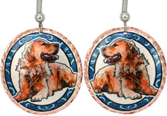 Golden Retriever Dog Colourful Copper Earrings
