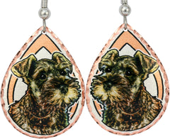 Miniature Schnauzer Dog Colourful Copper Earrings