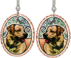 Labrador Retriever Dog Colourful Copper Earrings